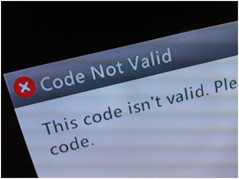 Code not valid error message